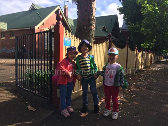 triplets at school