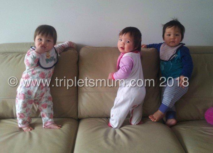 1 year old triplets development