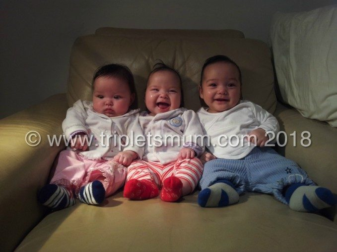 4 months old triplets
